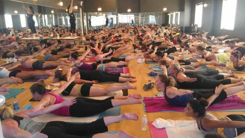 via  Bikram Yoga Dallas- Yogis flying high at our @Lululemon Studio of the Month FREE Class taught by the lovely @ChristinaVeda!