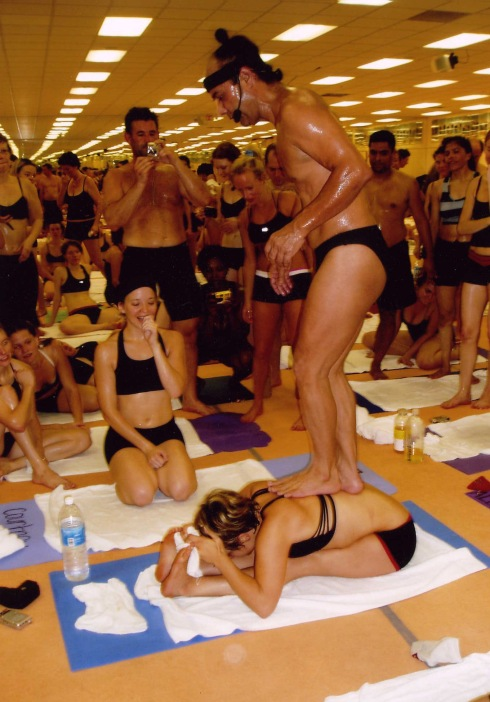There's no doubt that of Olga's flexibility. Bikram is standing on her back in this photo.