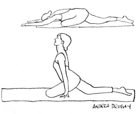 One-Legged King Pigeon Pose (Eka Pada Rajakapotasana) Illustration by Andrea Drugay